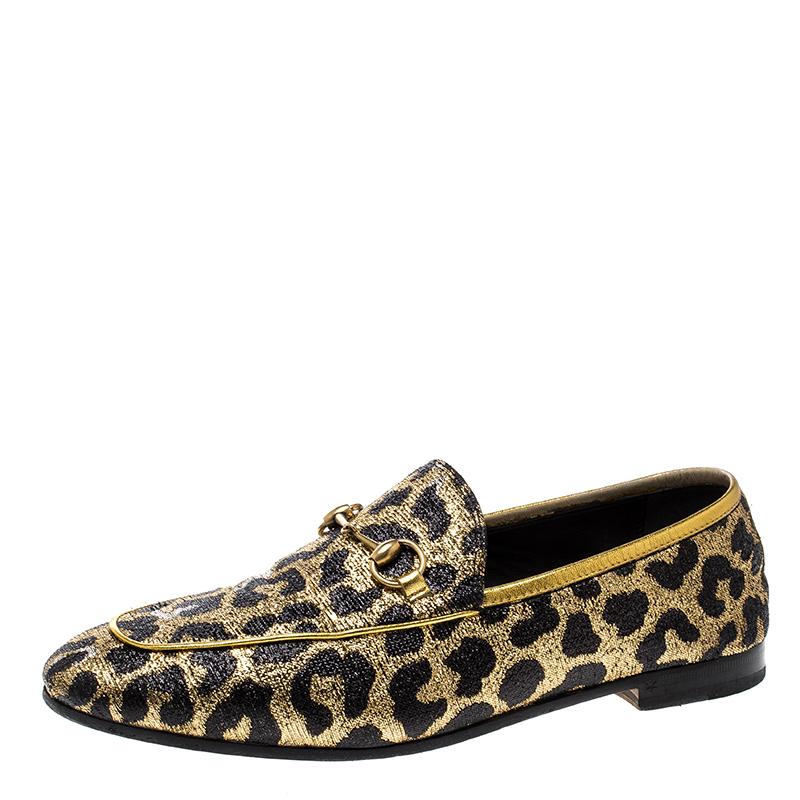 ab496e61de0 Buy Gucci Gold Black Leopard Print Lurex Fabric Horsebit Jordaan ...