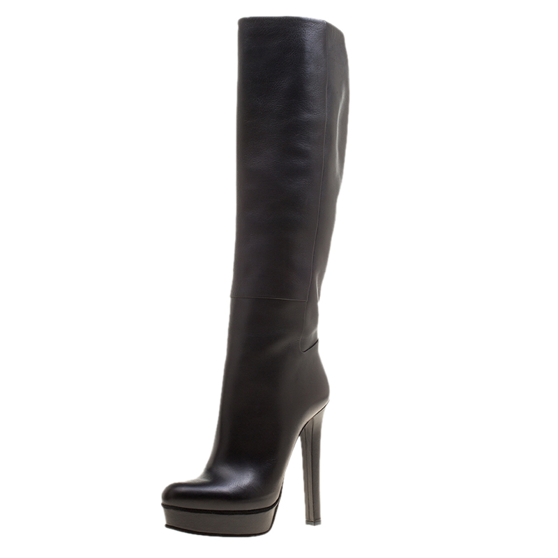 23c97d7d8 ... Gucci Black Leather Alexa Platform Knee High Boots Size 38. nextprev.  prevnext