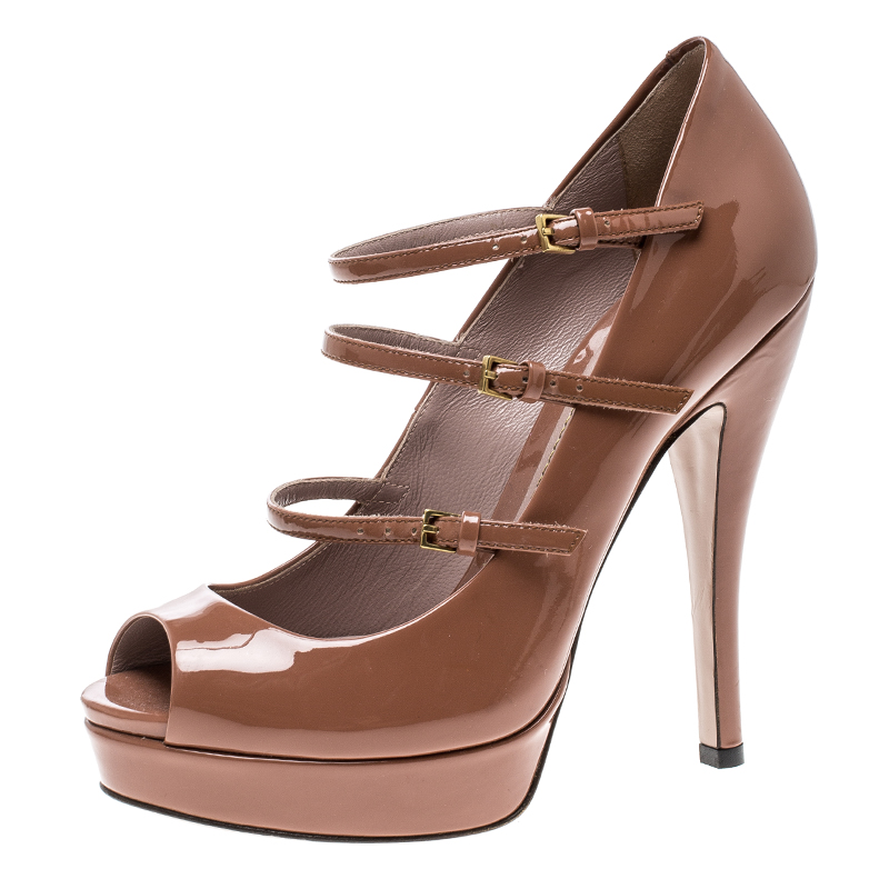 Buy Gucci Brown Patent Leather Multi Strap Lisbeth Platform Pumps ...