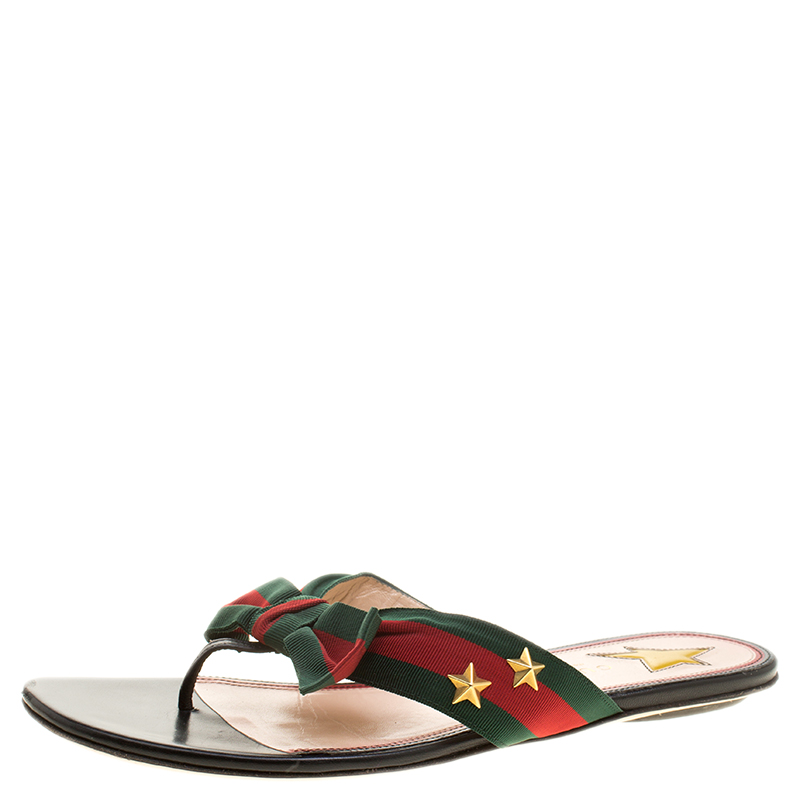 0782308accb ... Gucci Green Red Fabric Web Aline Thong Sandals Size 39. nextprev.  prevnext
