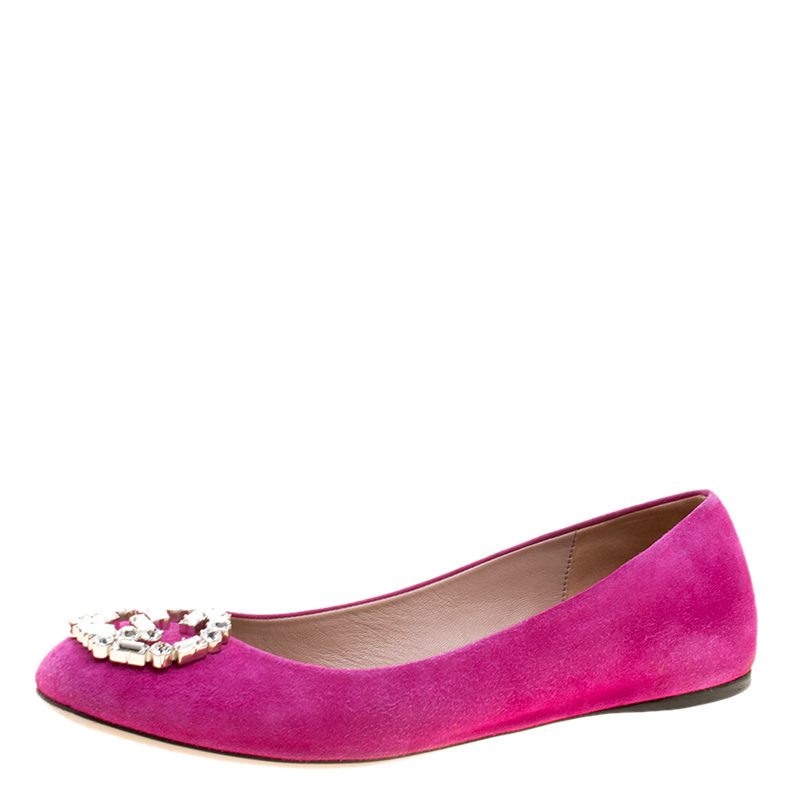 42dac7a3e ... Gucci Pink Suede Crystal GG Ballet Flats Size 36.5. nextprev. prevnext
