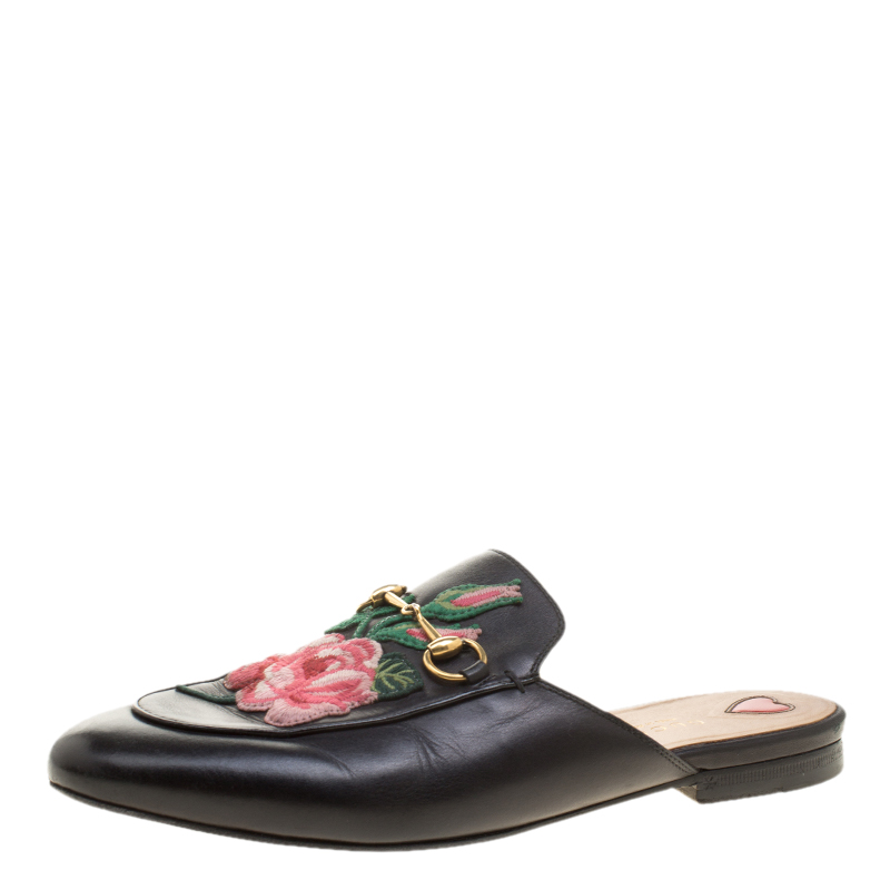 a945f1a2f64 ... Gucci Black Leather Horsebit Embroidered Princetown Mules Size 38.5.  nextprev. prevnext