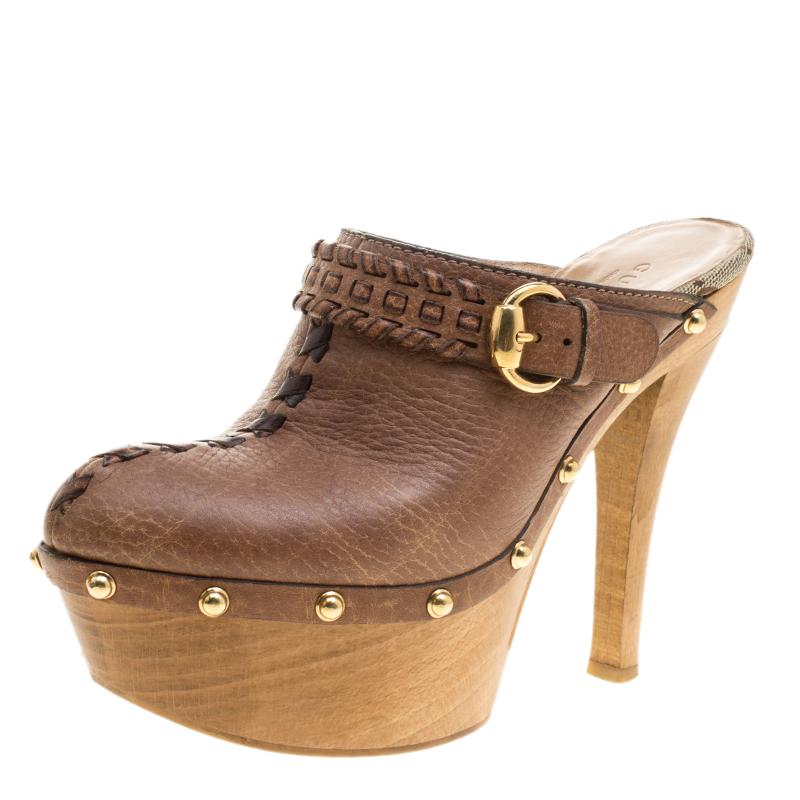 65e31fc707736 Gucci Brown Leather Janis Platform Clogs Size 37