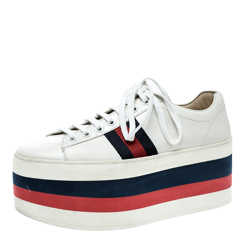abbf61ccaad Buy Gucci White Leather Peggy Web Detail Platform Sneakers Size 37 ...