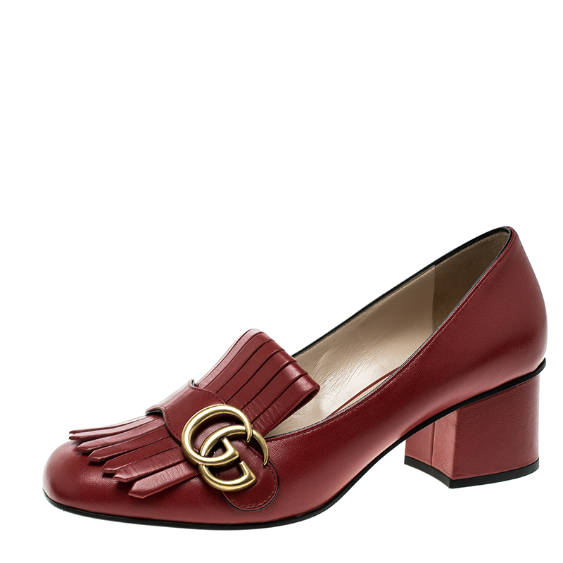 51c222a597a5 ... Gucci Red Leather Fringe Marmont GG Loafer Pumps Size 37.5. nextprev.  prevnext