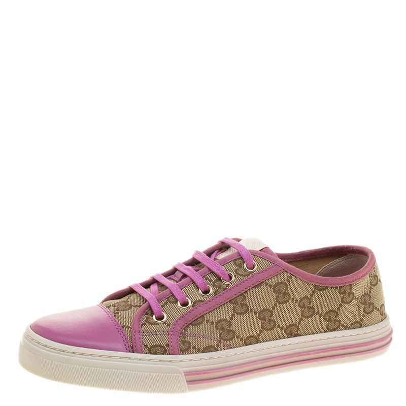 272bafd2147 Buy Gucci Pink Leather and Beige Guccissima Canvas Low Top Sneakers ...