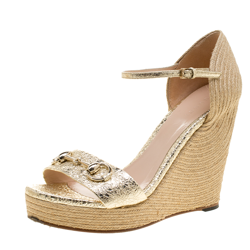 86007b27a3b ... Gucci Gold Crackled Leather Carolina Horsebit Espadrille Wedge Sandals  Size 38.5. nextprev. prevnext