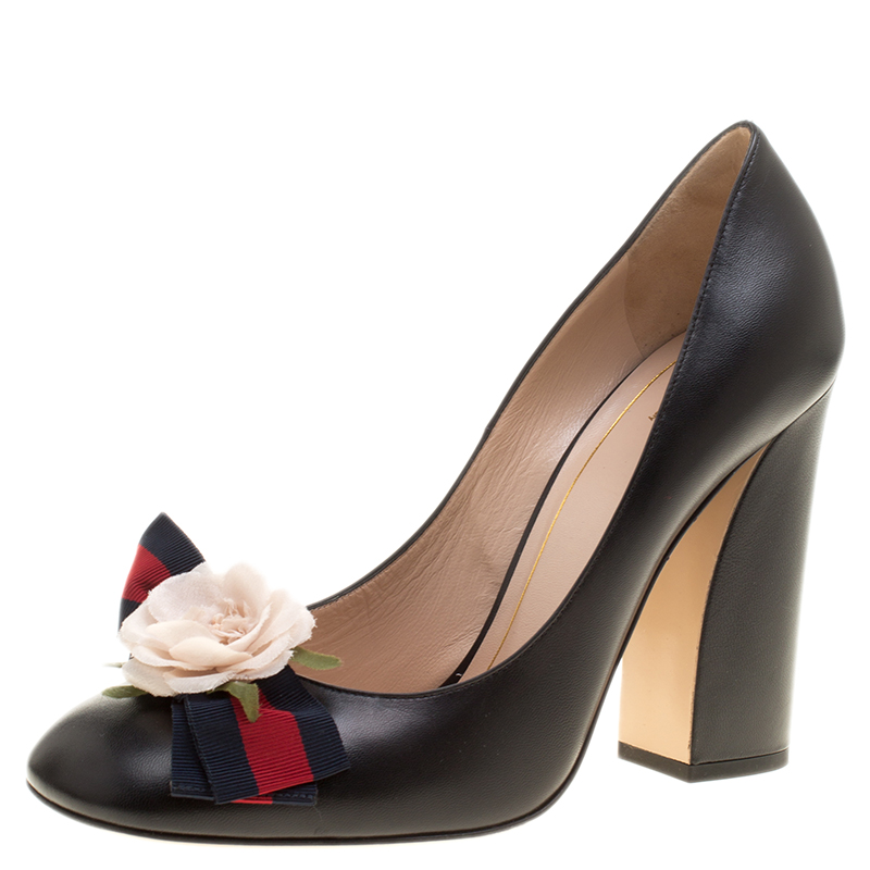 b5f08fb1624 ... Gucci Black Leather Flower Embellished Web Bow Block Heel Pumps Size  40. nextprev. prevnext