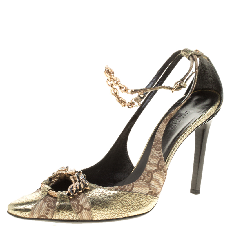 58cca0d1d140 ... Gucci Beige GG Canvas And Leather Crystal Embellished Pointed Toe  Slingback Sandals Size 36.5. nextprev. prevnext