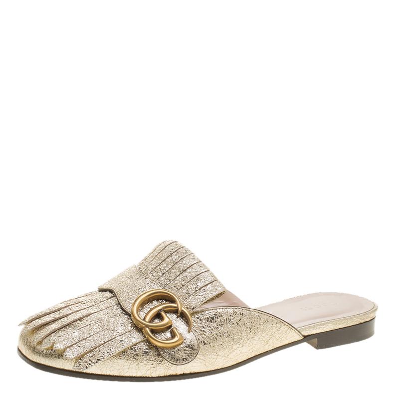 2b4416d08 ... Gucci Metallic Gold Laminate Leather Marmont GG Fringe Detail Flat Slip  On Size 37.5. nextprev. prevnext