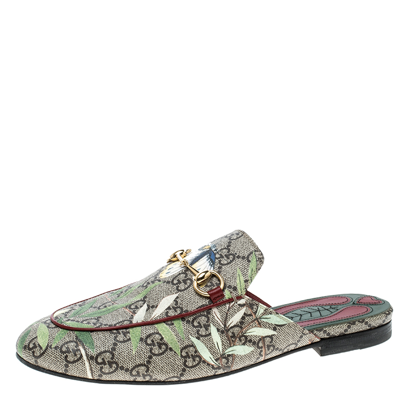 869e248d4 ... Gucci Beige Printed Canvas Tian Horsebit Loafer Slides Size 38.  nextprev. prevnext