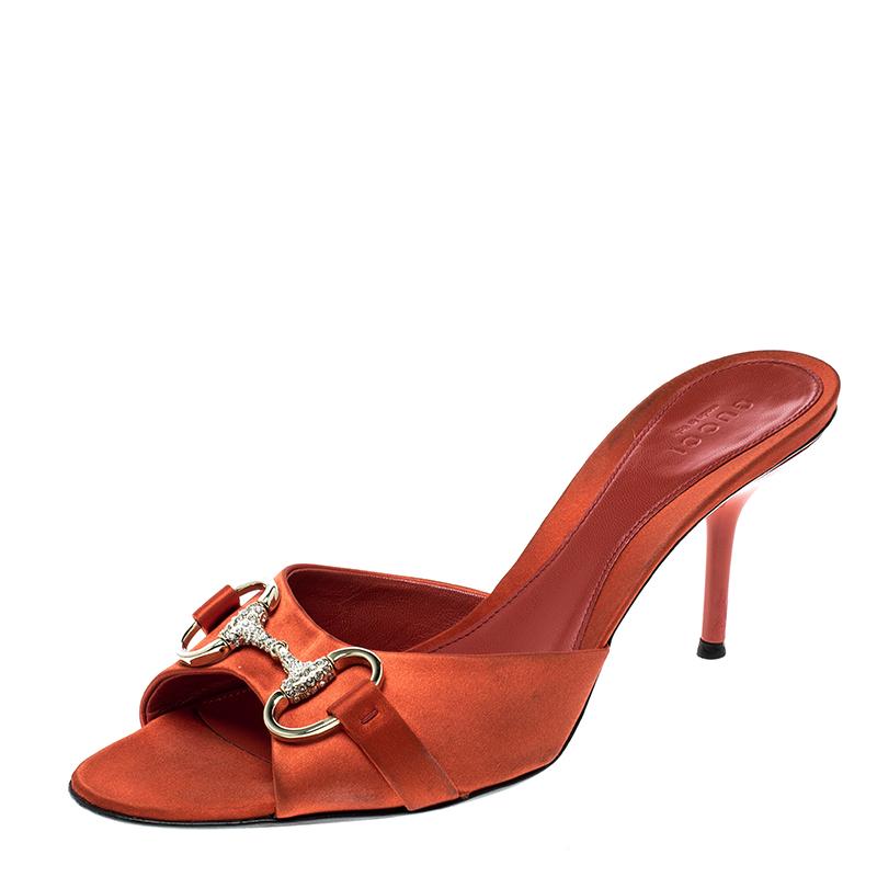 213fe1ded Buy Gucci Orange Satin Crystal Embellished Horsebit Slides Size 37 ...