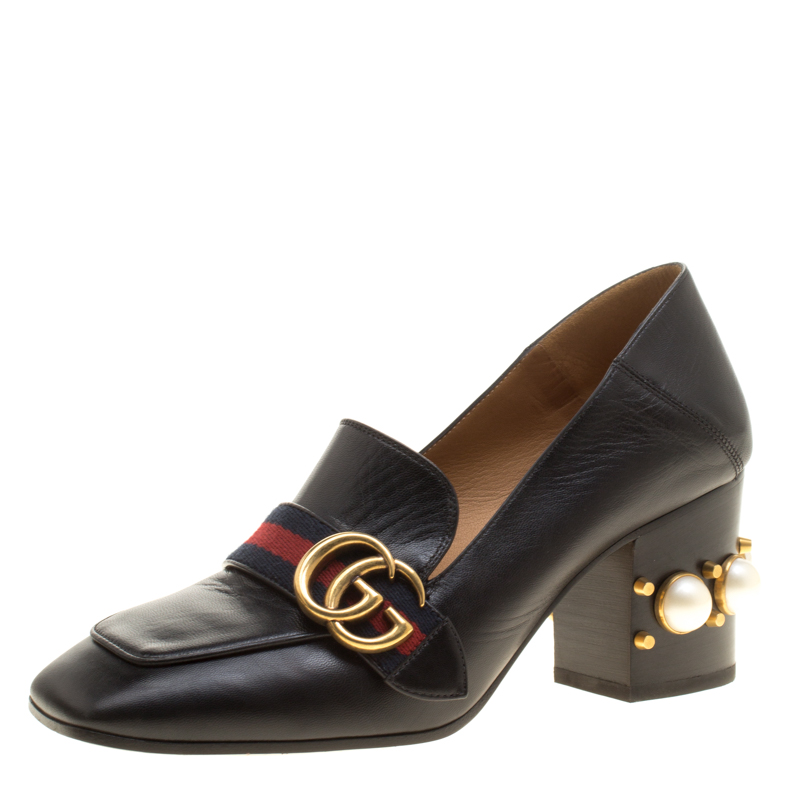 Gucci Black Leather Faux Pearl