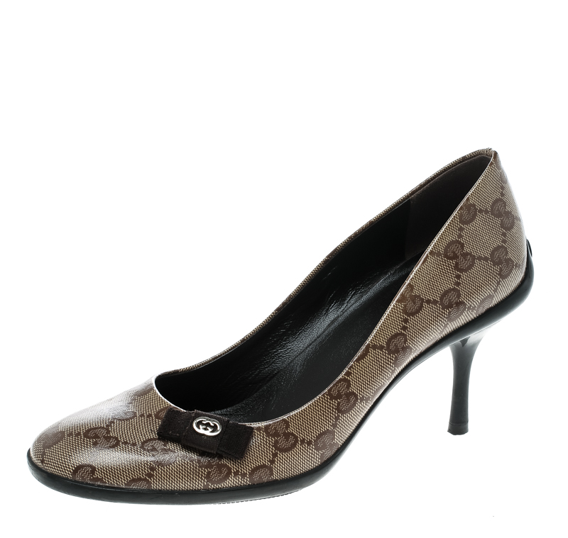 Gucci Beige GG Crystal Canvas Bow Pumps Size 37