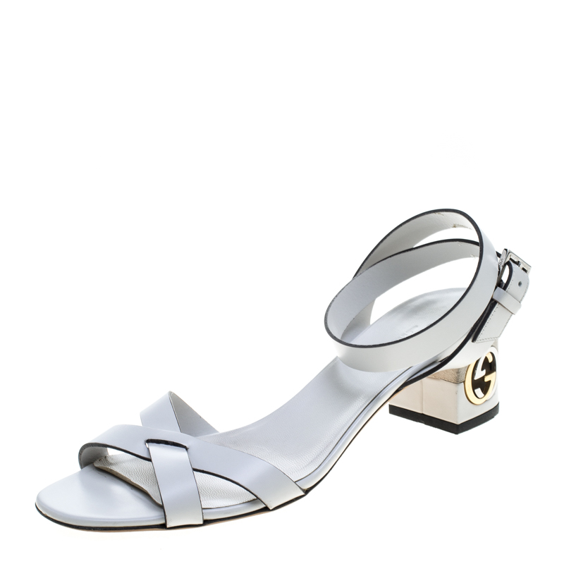Gucci White Leather Ankle Strap GG Logo Heel Sandals Size 37.5