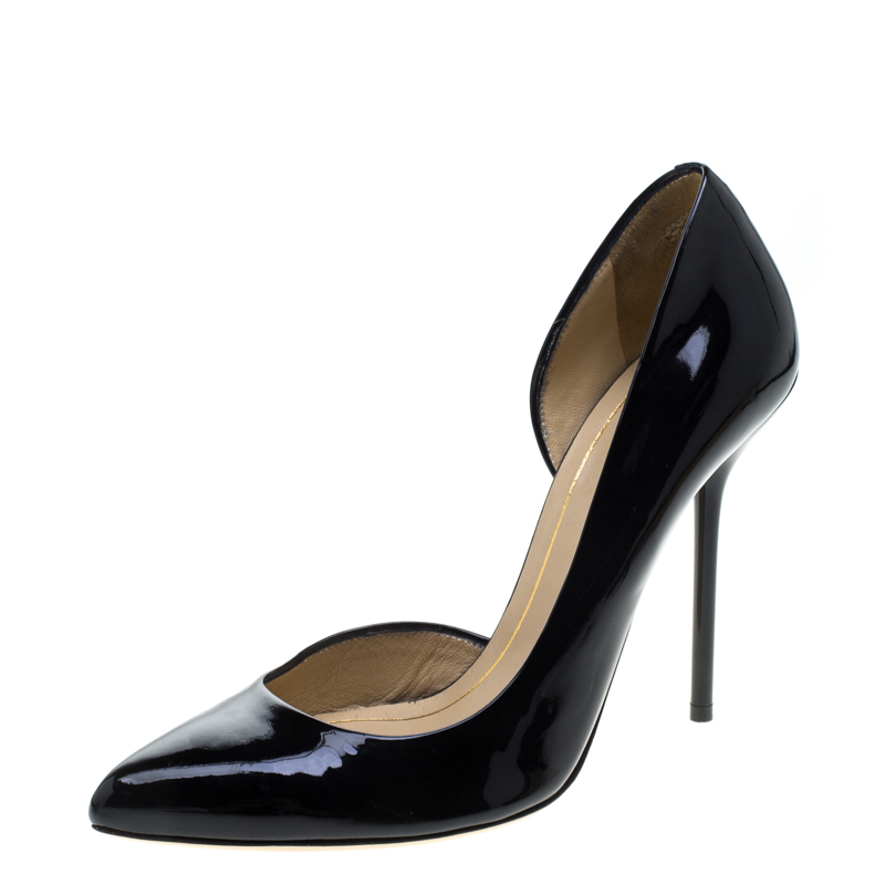 572a0340b Buy Gucci Black Patent Leather Noah Pointed Toe D'Orsay Pumps Size ...