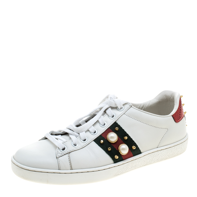 ... Gucci White Leather Ace Studded Sneakers Size 37. nextprev. prevnext