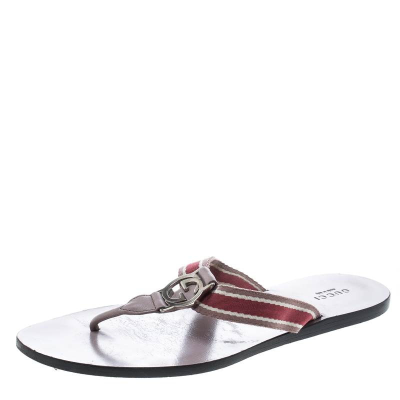 2ee73125259b Buy Gucci Beige Leather and Web Detail GG Thong Flats Size 38.5 ...