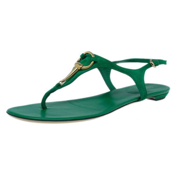ebaa2c3793706c Buy Gucci Green Suede Horsebit Thong Sandals Size 39.5 14525 at best ...