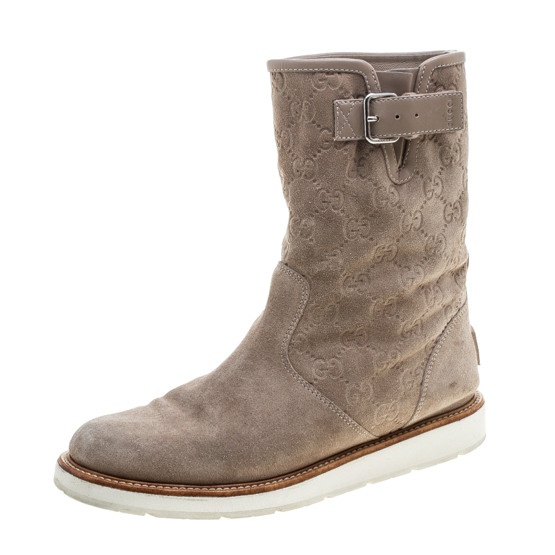Gucci Beige Guccissima Suede Quercy Flat Boots Size 37.5