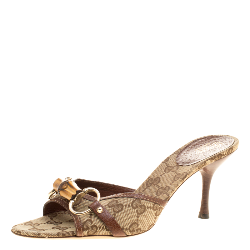dd543d31ec9d Buy Gucci Beige Brown GG Canvas and Leather Bamboo Sandals Size 39 ...