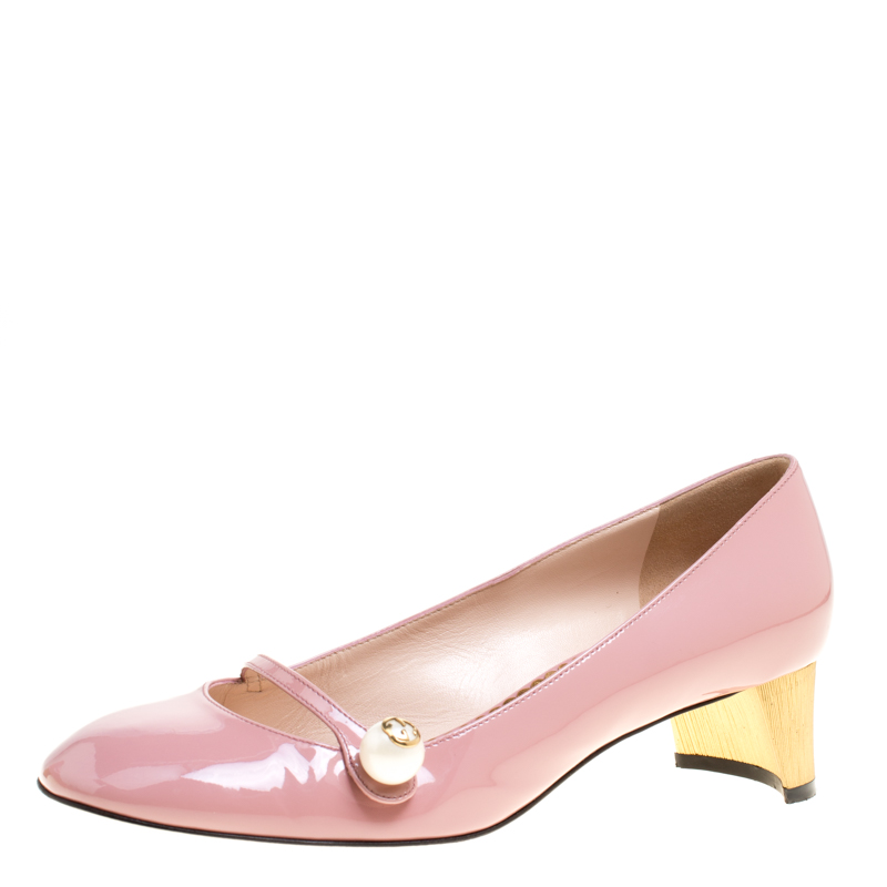 a5f70e411 Buy Gucci Blush Pink Patent Leather Faux Pearl Detail Mary Jane ...