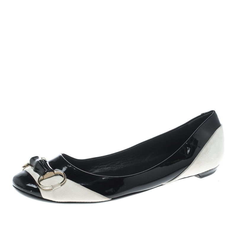 80bccb14d single pair front shot of Gucci Black/White Patent Leather and Suede Bamboo  Horsebit Ballet