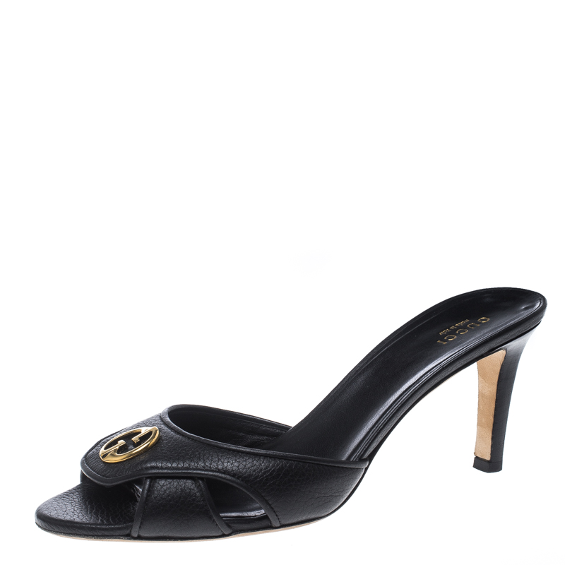 f8d0e9fe0ea3 ... Gucci Black Leather Cellarius GG Logo Slides Sandals Size 38.5.  nextprev. prevnext