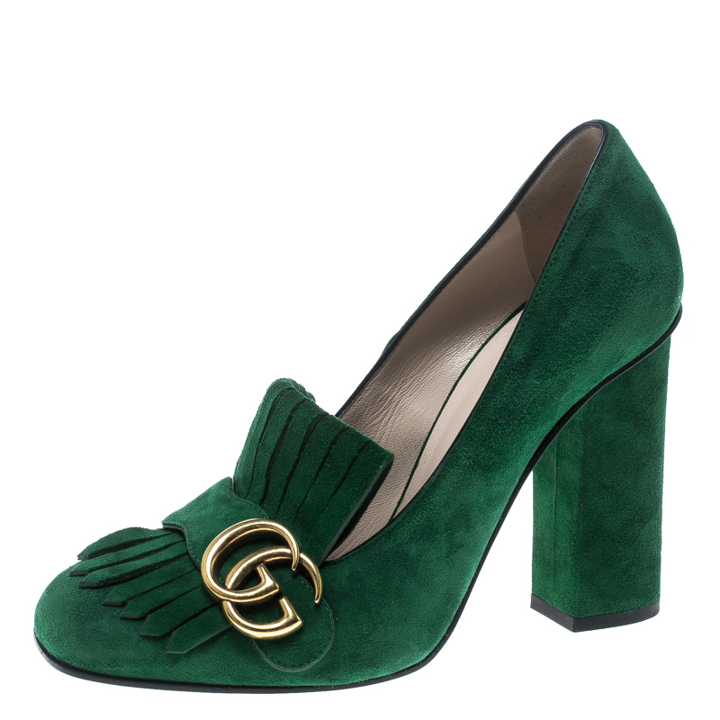 729556b6925d Buy Gucci Emerald Green Suede Fringe Detail Block Heel Pumps Size ...