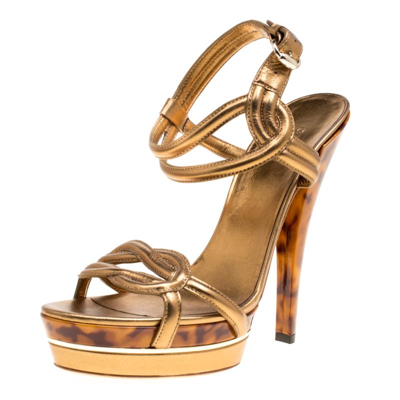 ce638be041b5 ... Gucci Metallic Bronze Leather Orchid Twist Detail Tortoise Heel Platform  Sandals Size 39. nextprev. prevnext