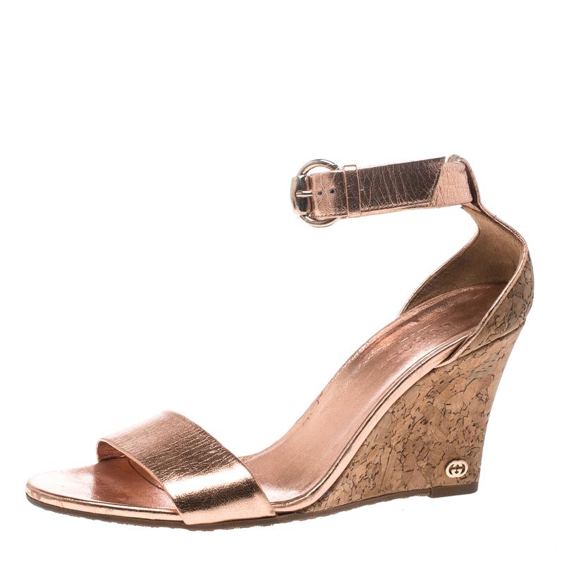 04b70dc1d9f3 ... Gucci Metallic Copper Leather Santander Ankle Strap Cork Wedge Sandals  Size 37. nextprev. prevnext