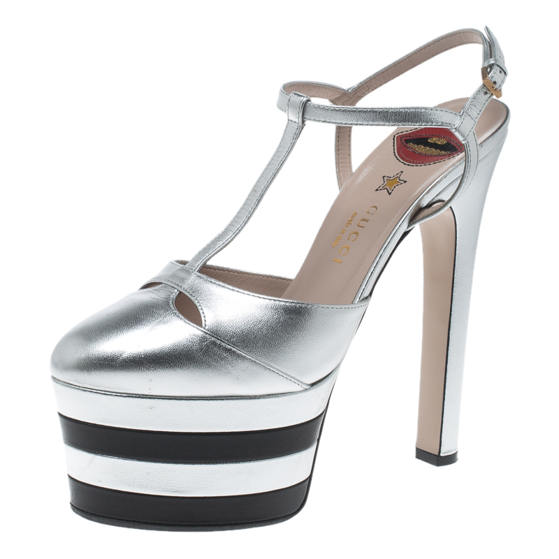 307b99544cc Gucci Metallic Silver Leather Angel T Strap Platform Sandals Size 38
