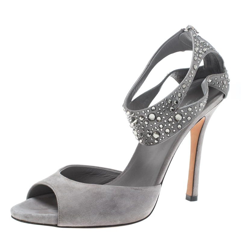Купить со скидкой Gucci Grey Suede and Satin Crystal Embellished Ankle Strap Sandals Size 37.5