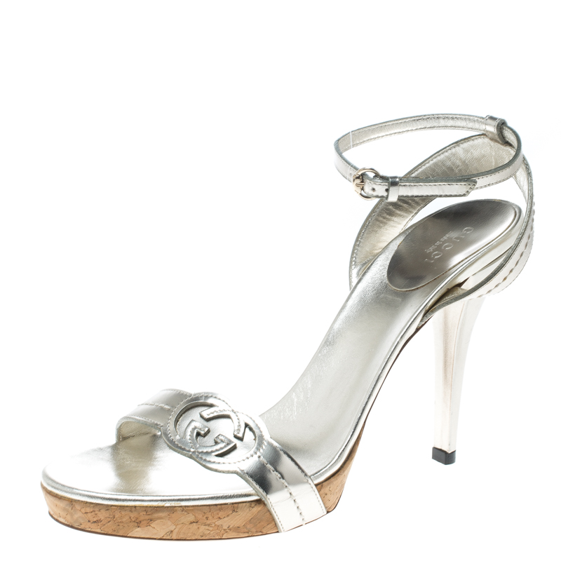 fdc55414d89 ... Gucci Light Gold Leather Cork Platform Ankle Wrap Sandals Size 39.  nextprev. prevnext