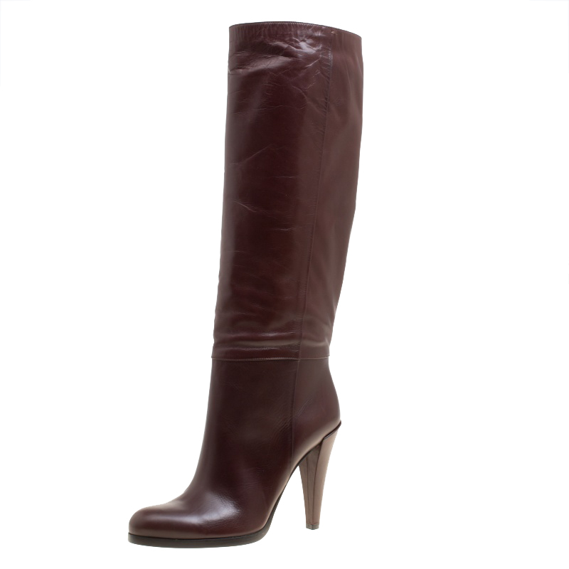 Купить со скидкой Gucci Brown Leather Elizabeth Knee High Boots Size 40.5