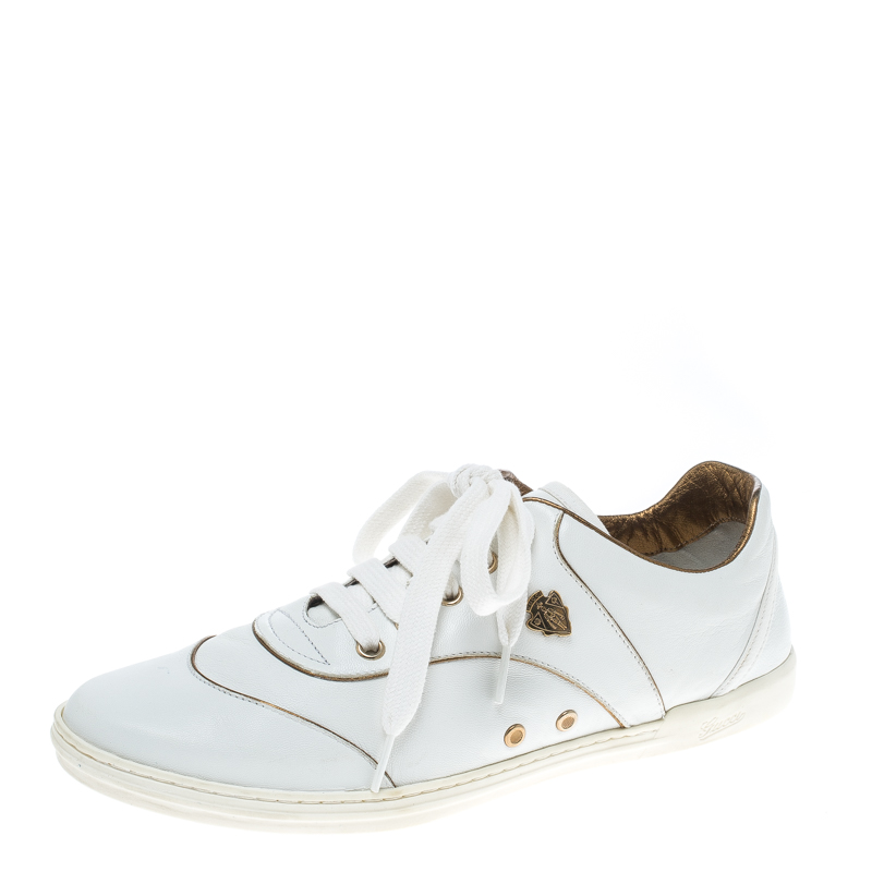 Gucci White Leather Hysteria Crest Low Top Sneakers Size 37.5