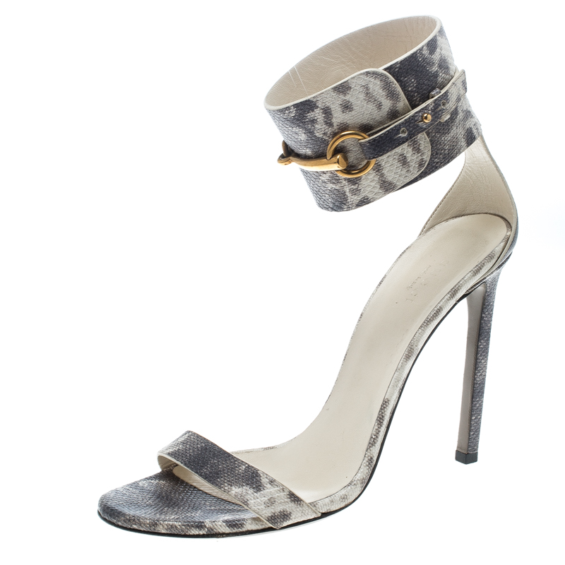 Купить со скидкой Gucci Grey Python Embossed Leather Horsebit Ankle Strap Sandals Size 39.5