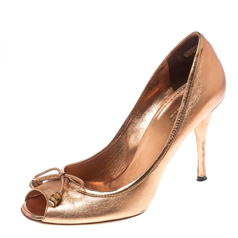 881213a4db ... Gucci Metallic Bronze Leather Bamboo Bow Peep Toe Pumps Size 37.  nextprev. prevnext