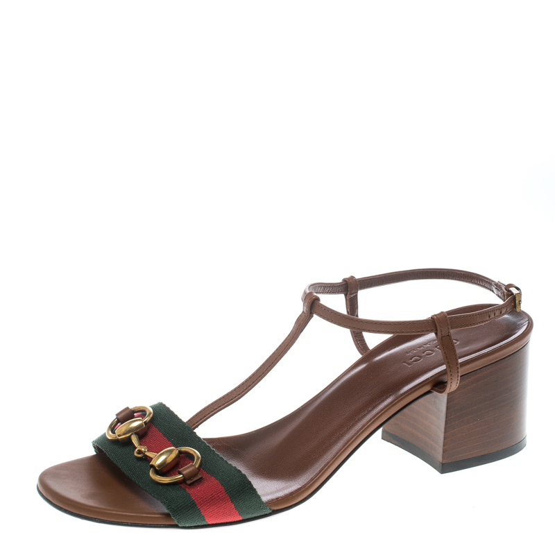 d28fe9c6bf92 Buy Gucci Brown Leather Horsebit Web Stripe Detail T Strap Sandals ...