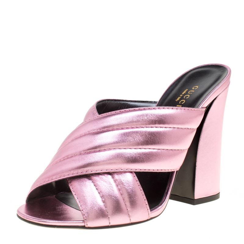 4ebf485c0d3 ... Gucci Pink Metallic Leather Sylvia Crossover Mules Size 39. nextprev.  prevnext