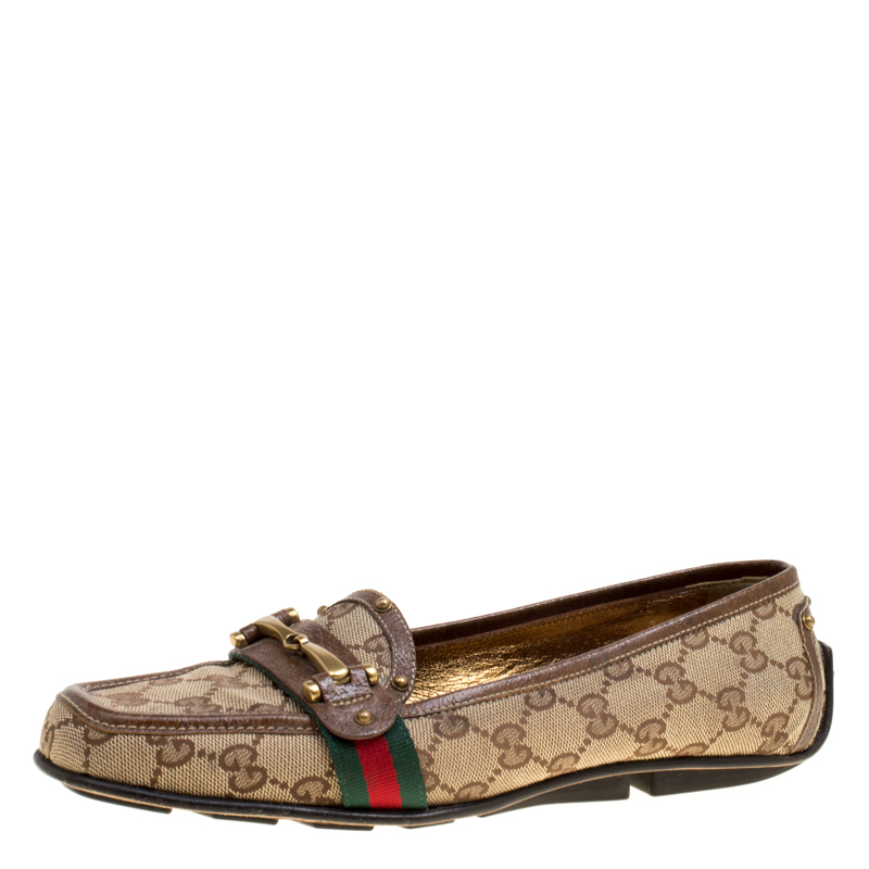 e330726a1fc Buy Gucci Beige GG Canvas Horsebit Loafers Size 38.5 163037 at best ...