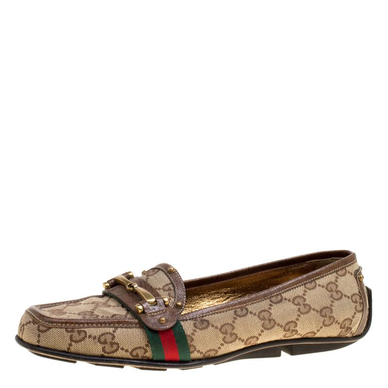 c92f8a61e5d ... Gucci Beige GG Canvas Horsebit Loafers Size 38.5. nextprev. prevnext