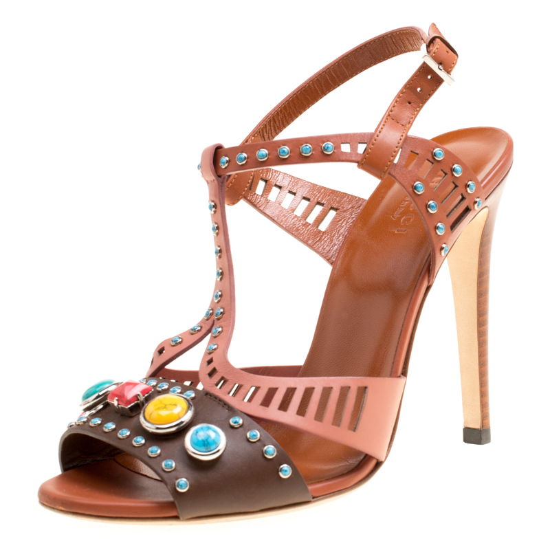 71a7fa40088a Buy Gucci Multicolor Leather Lika Stone Embellished Sandals Size 38 ...