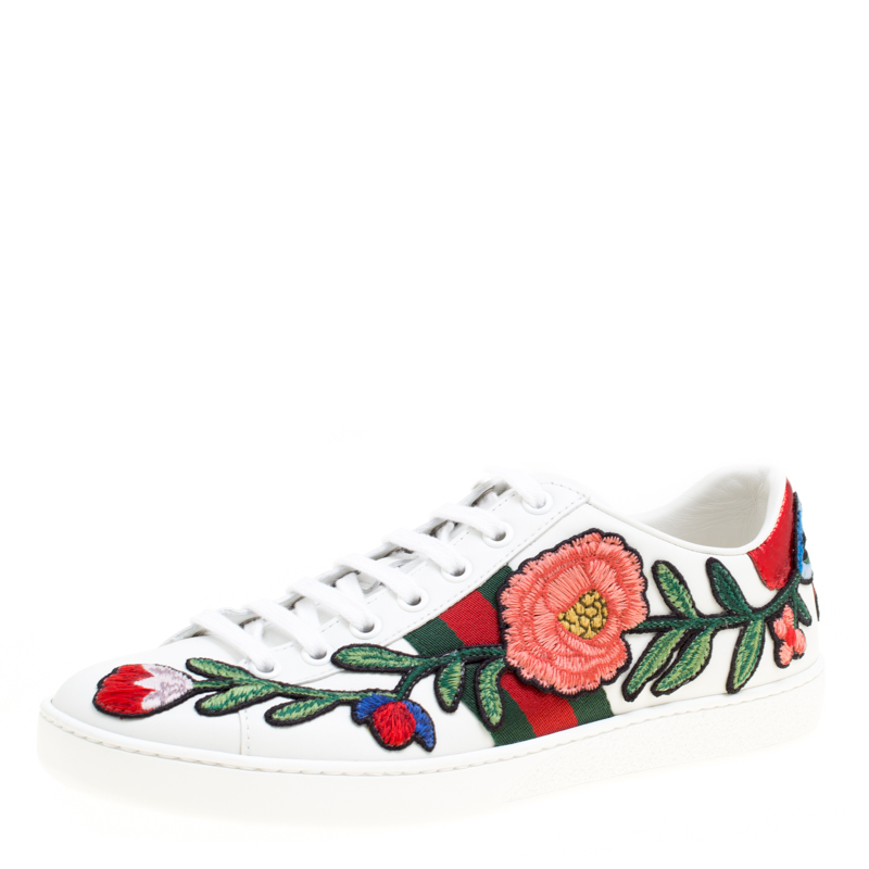 b8cf23bb933 ... Gucci White Floral Embroidered Leather Ace Low Top Sneakers Size 36.5.  nextprev. prevnext