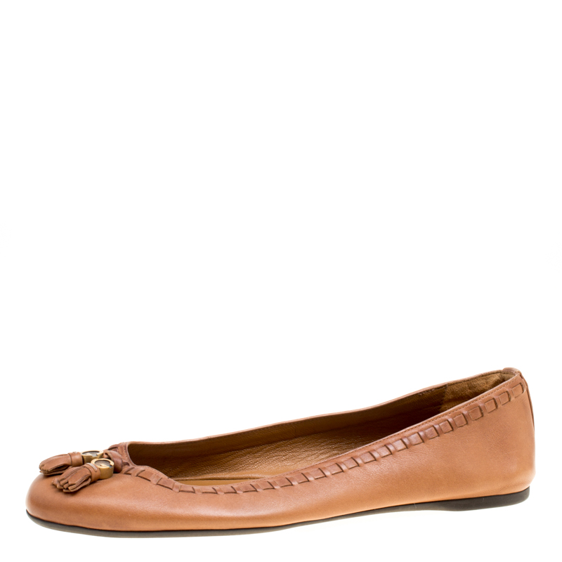 c08e69b1ad0 Buy Gucci Brown Leather Fringe Detail Round Toe Ballet Flats Size ...