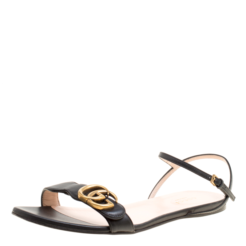 24417ca0439 ... Gucci Black Leather Marmont Double G Flat Ankle Strap Sandals Size 38.  nextprev. prevnext