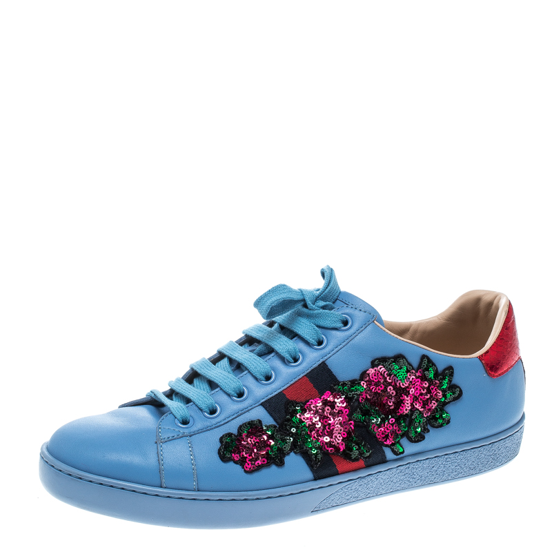 d53e31260 ... Gucci Blue Leather Web Floral Embellished Ace Sneakers Size 39.  nextprev. prevnext