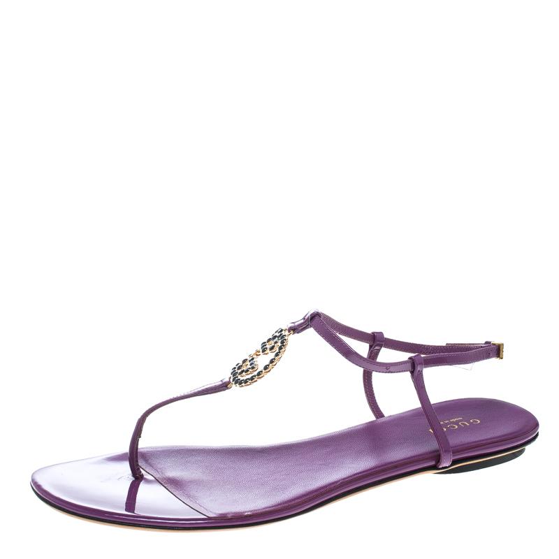 834ef54e7f8 ... Gucci Purple Patent Leather GG Logo Buckle Flat Thong Sandals Size 40.  nextprev. prevnext
