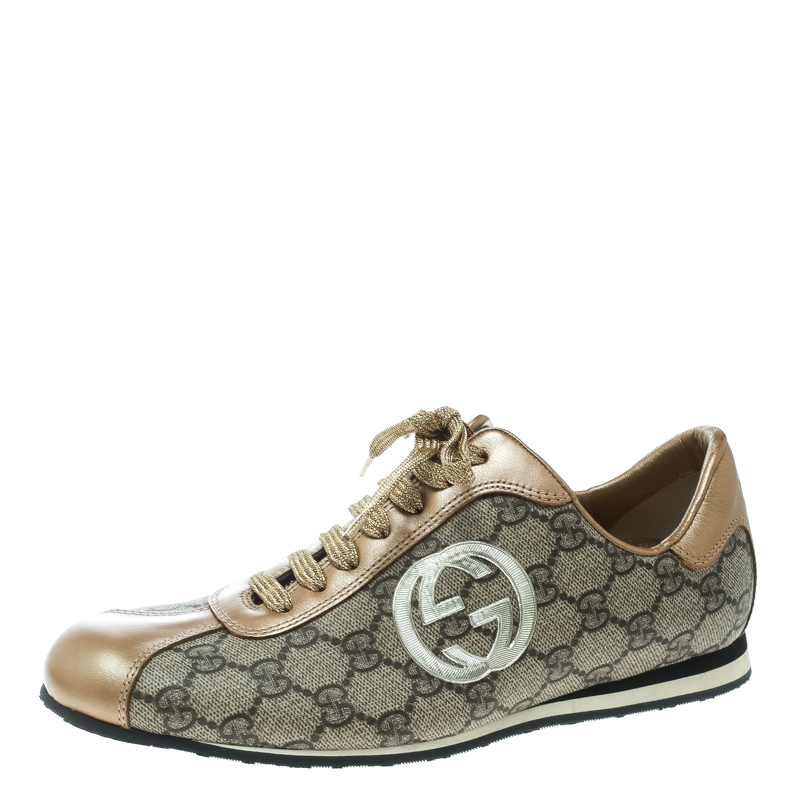 1ba0af1952d ... Gucci Beige Guccissima Canvas And Metallic Gold Leather GG Lace Up  Sneakers Size 38. nextprev. prevnext