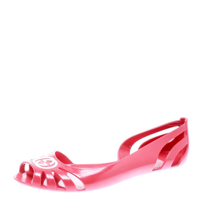de3d4462edc5 Buy Gucci Pink Jelly Interlocking GG Marola Jelly Ballet Flats Size ...